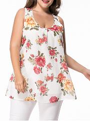 Scoop-Neck-Racerback-Chiffon-Floral-Plus-Size-T-Shirt