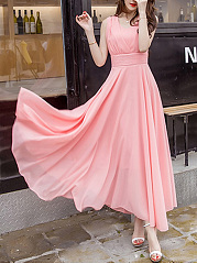 Summer-V-Neck-Plain-Chiffon-Maxi-Dress