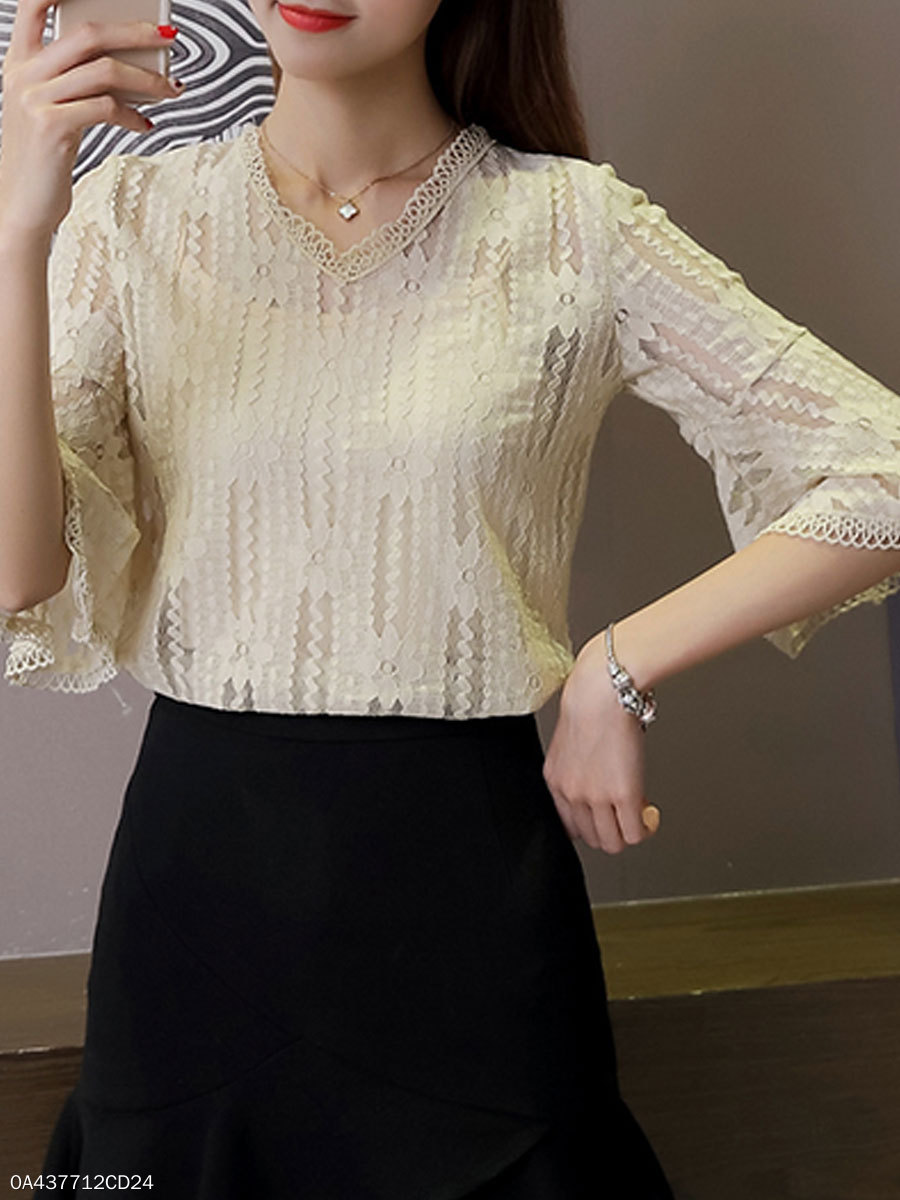 Summer  Lace  Women  V-Neck  Plain  Bell Sleeve  Three-Quarter Sleeve Blouses