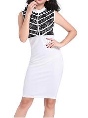 Band-Collar-Color-Block-Bodycon-Dress
