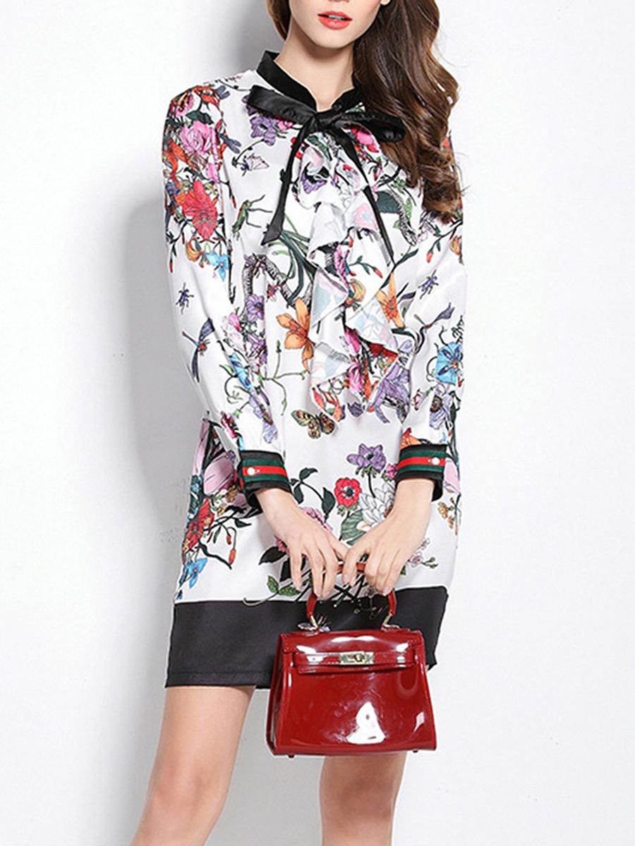 Tie Collar  Floral Bodycon Dress
