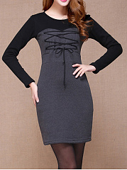 Round Neck  Lace-Up  Bust Darts Chain  Colouring Bodycon Dress