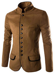 Men-Band-Collar-Single-Breasted-Woolen-Plain-Coat