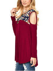 Open Shoulder Floral Printed Long Sleeve T-Shirt