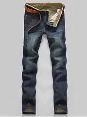 Mens Ripped Light Wash Straight Jeans