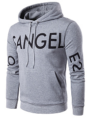 Letters Printed Kangaroo Pocket Men Hoodie
