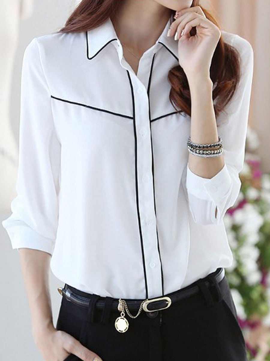 Autumn Spring  Polyester  Women  Turn Down Collar  Contrast Piping  Plain  Long Sleeve Blouses