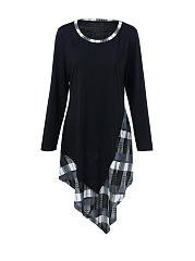 Asymmetric-Hem-Plaid-Round-Neck-Plus-Size-Shift-Dress