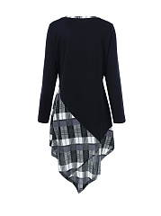 Asymmetric Hem Plaid Round Neck Plus Size Shift Dress