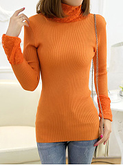 High Neck  Decorative Lace  Plain Sweater