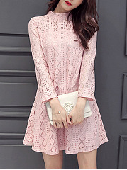 Band Collar  Lace Date Plain Shift Dress