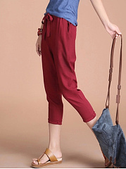Plain Bowknot Cropped Slim-Leg Casual Pants