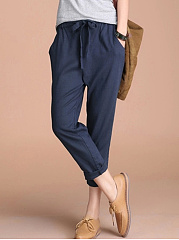 Plain-Bowknot-Cropped-Slim-Leg-Casual-Pants