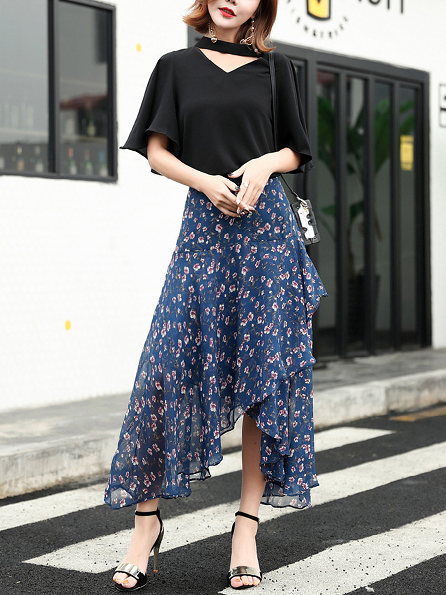 Asymmetric Hem Floral Hollow Out Flared Maxi Skirt