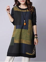 Casual Color Block Round Neck Shift Dress