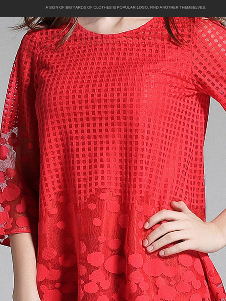 Spring Summer  Polyester  Women  Round Neck  Plain  Three-Quarter Sleeve Blouses