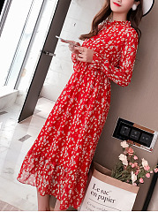 Band Collar  Elastic Waist  Printed Maxi Dress