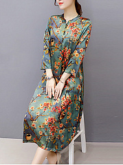 Band Collar Floral Printed Pocket Maxi Dress