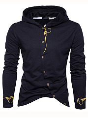 Diagonal Buttons Embroidery Men Hoodie