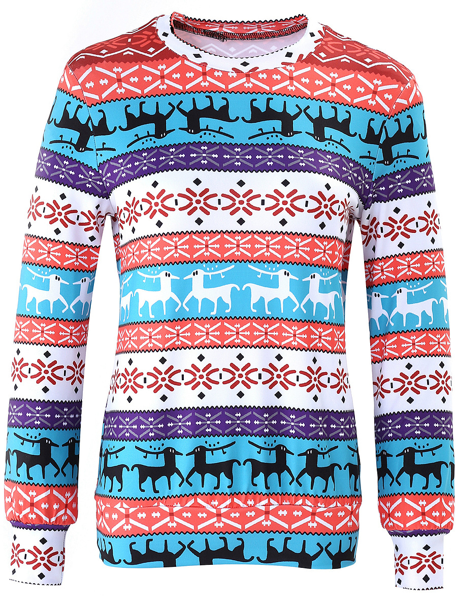 Multi-Color Christmas Printed Long Sleeve T-Shirt