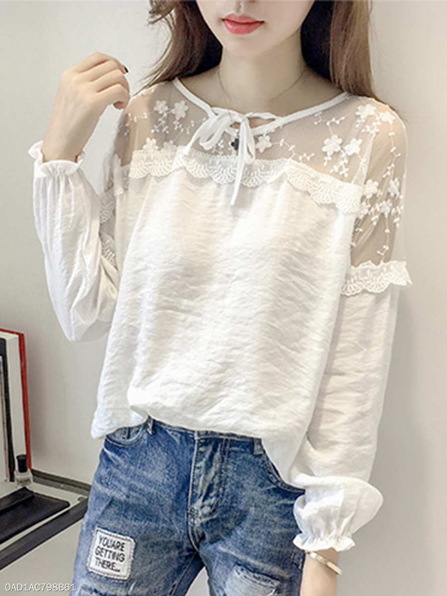Women  V-Neck  Decorative Lace Patchwork  Plain  Batwing Long Sleeve Blouses
