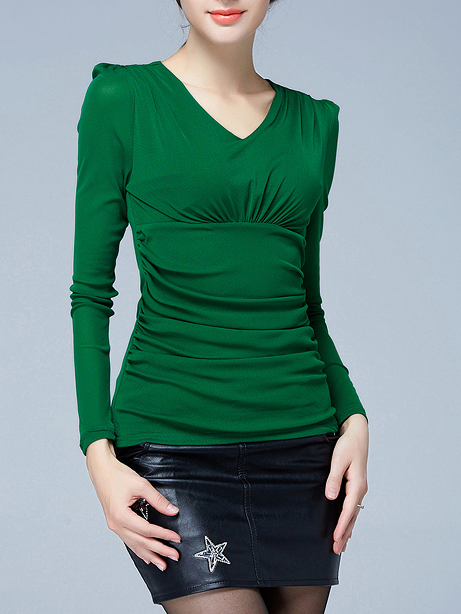 V-Neck Ruched Plain Long Sleeve T-Shirt