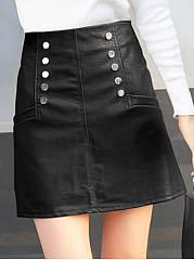 Plain-PU-Leather-A-Line-Mini-Skirt