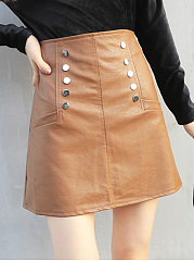 Plain PU Leather A-Line Mini Skirt