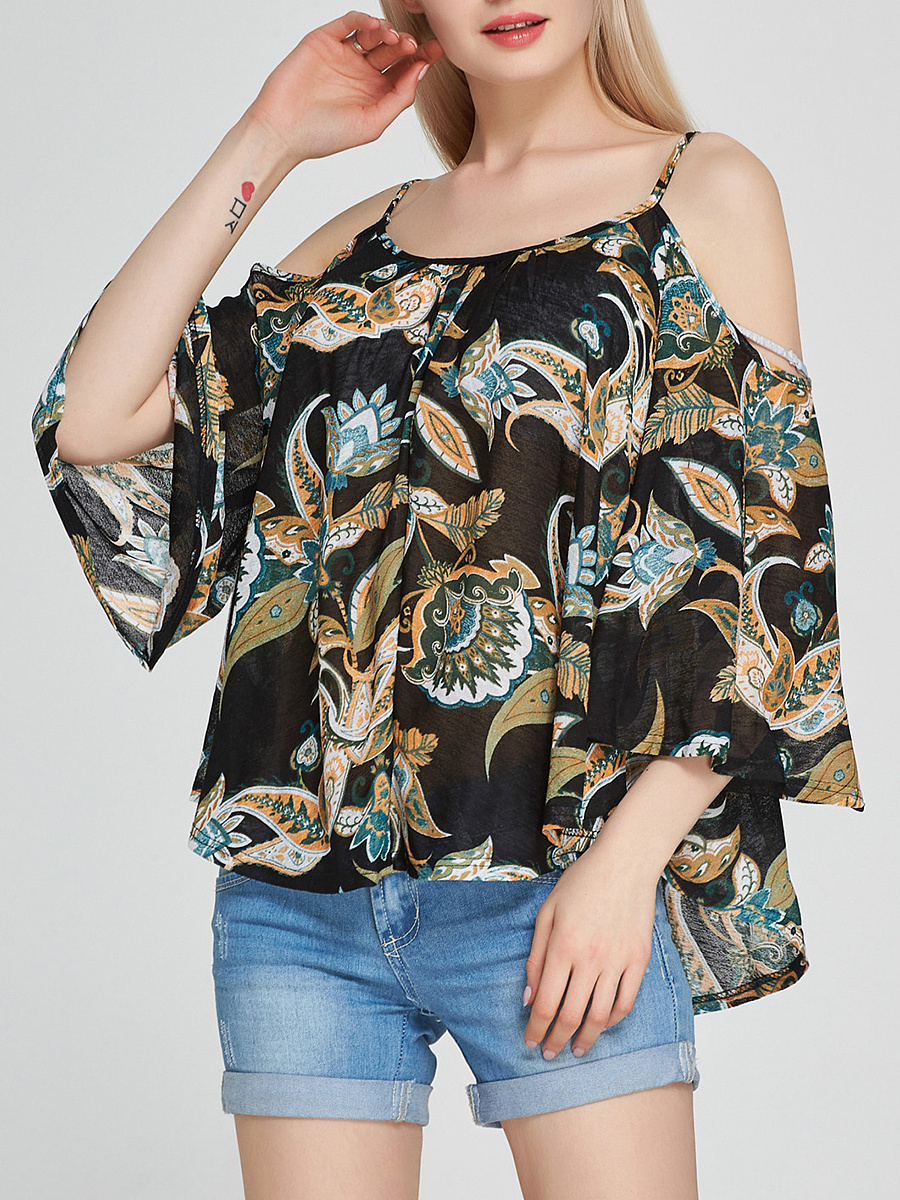 Captivating Open Shoulder Printed Long Sleeve T-Shirt