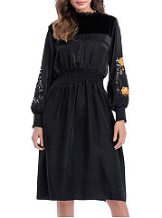 Band-Collar-Patchwork-Embroidery-Polyester-Skater-Dress