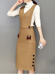 V-Neck  Bowknot  Decorative Button Two Way  Plain Bodycon Dress
