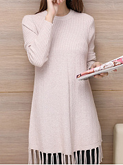 Round Neck  Tassel  Plain  Long Sleeve Sweaters Pullover