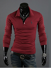 Polo Collar Deer Embroidery T-Shirt