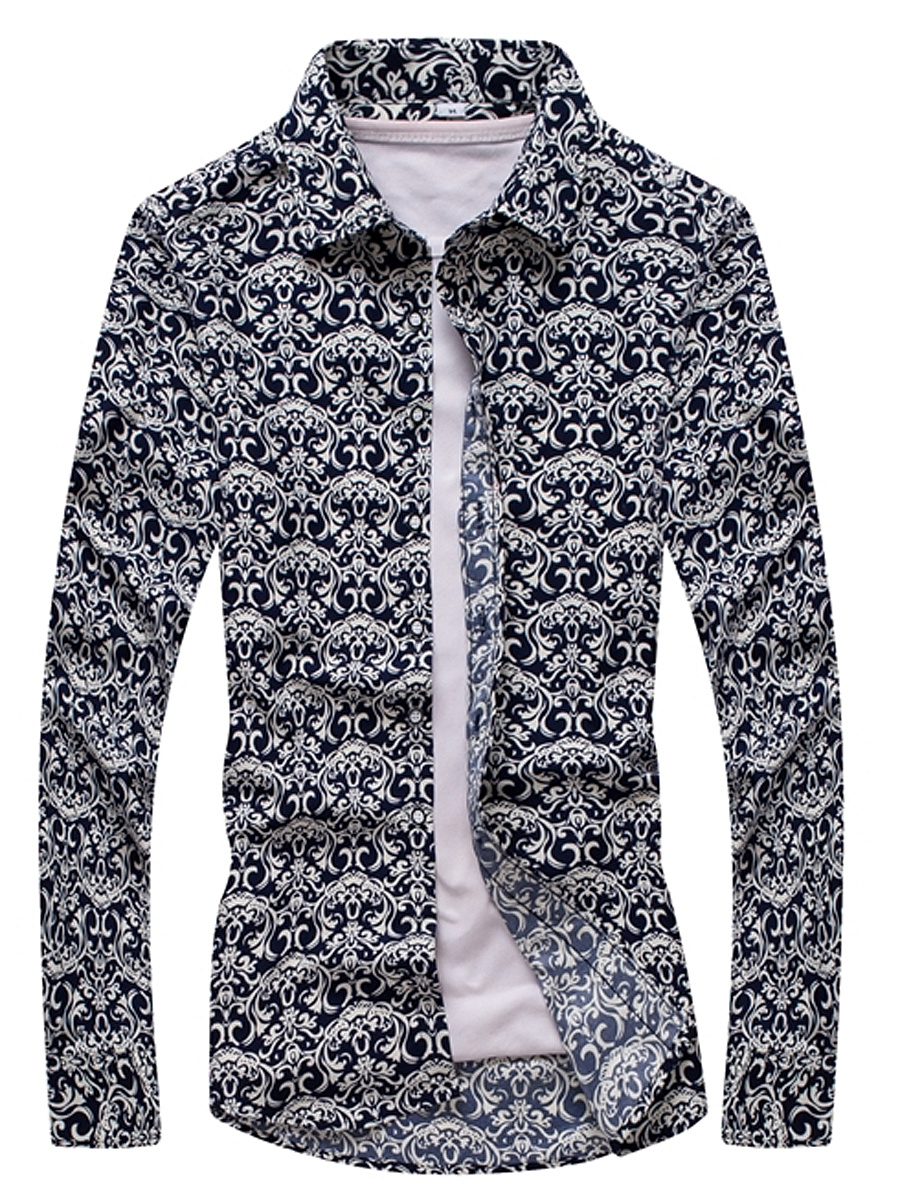 Unique Pattern Printed Men Long Sleeve Shirts