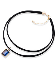 Blue Imitated Crystal Layer Choker Necklace