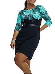 Decorative Lace Patchwork  Color Block Plus Size Bodycon Dress