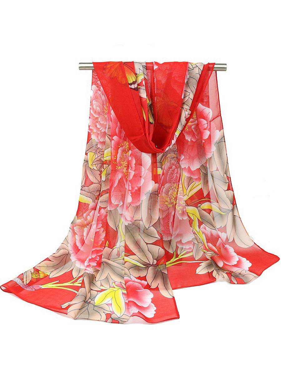 Peony And Butterfly Printed Long Scarf