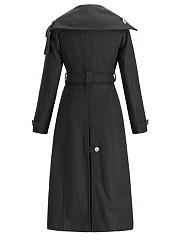 Lapel Double Breasted Vented Belt Plain Woolen Long Coat