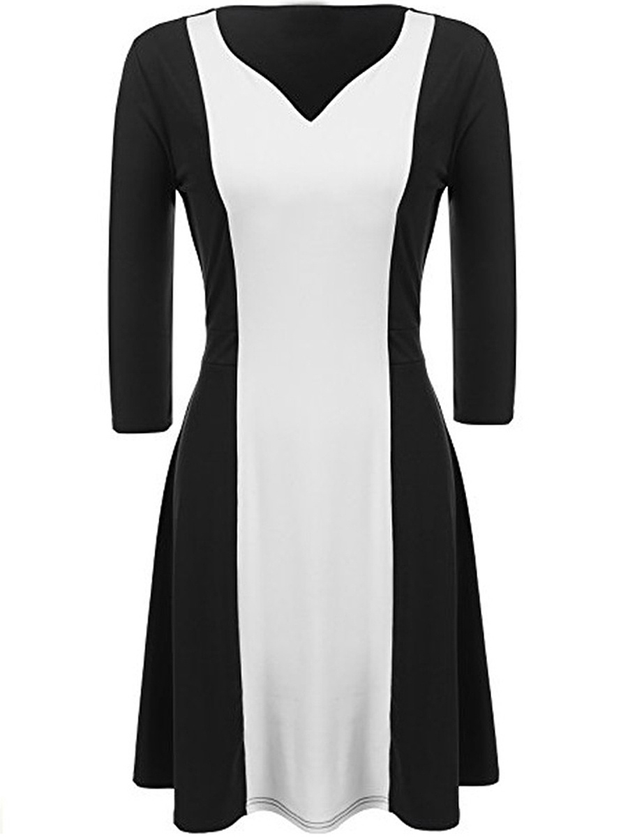 Black White Color Block V-Neck Skater Dress