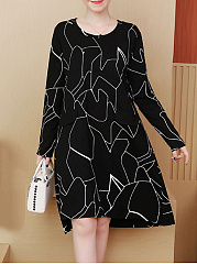 Round Neck  Abstract Print Casual Midi Shift Dress