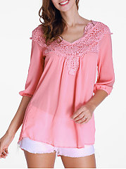 V-Neck  Decorative Lace  Plain  Half Sleeve Blouses