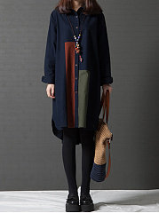 Color-Block-Pocket-High-Low-Shirt-Dress
