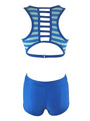Crew Neck  Striped  High-Rise Swimwear
