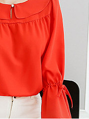 Spring Summer  Polyester  Women  Round Neck  Plain  Tie Sleeve  Long Sleeve Blouses