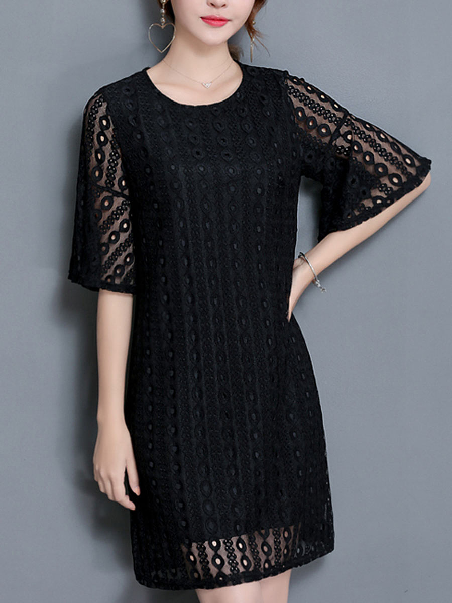 Round Neck  Hollow Out Plain Bell Sleeve Lace Shift Dress