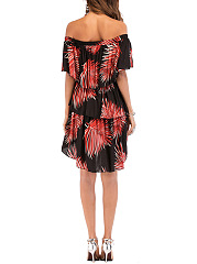 Off Shoulder Flounce Tropical Palm Printed Layered Skater Dress