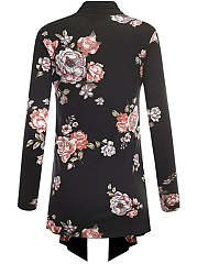 Band Collar  Floral Knit Cardigans