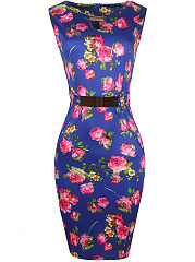 Chic-Keyhole-Floral-Printed-Slit-Decorative-Hardware-Bodycon-Dress