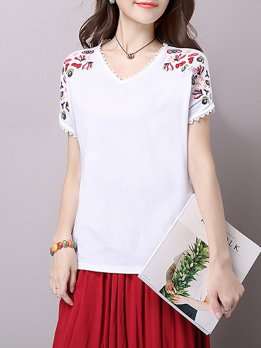 V-Neck  Embroidery Short Sleeve T-Shirt