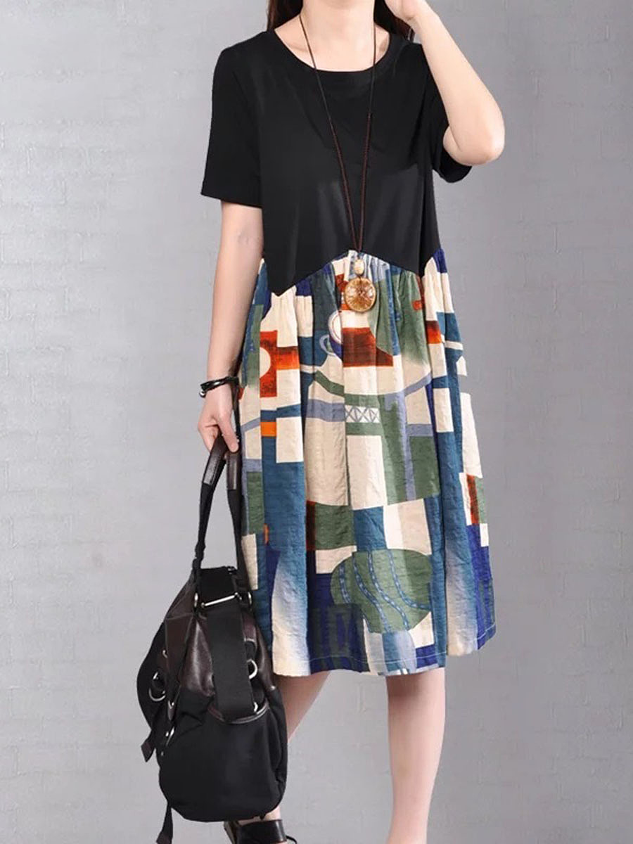 Round Neck  Color Block Printed Shift Dress